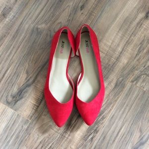 Never Worn Bright Red Flats Size 10 JustFab